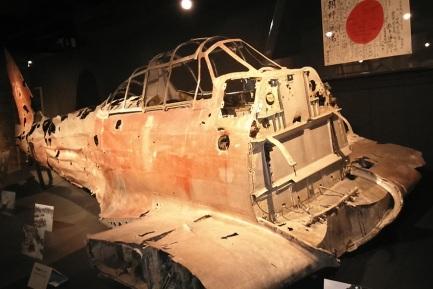 Pecio de un Zero expuesto en el Imperial War Museum de Londres